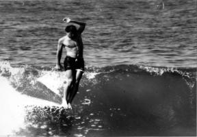 Sparky Hudson hangs ten at 17th street in Hermosa Beach 1964
